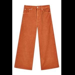 Topshop Wide Leg Corduroy Cropped Pants, 32